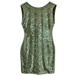 Alice + Olivia Chartreuse Sequin Mini Sheath Dress